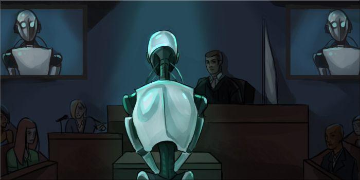 robot in de rechzaal.
