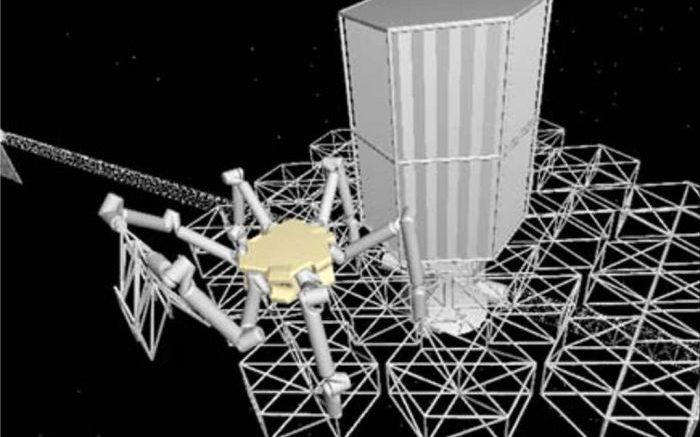 Een robot werkt in de ruimte
